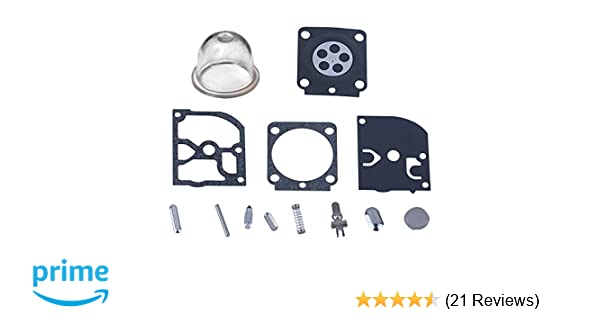 HIPA RB-100 Carburetor Rebuild Kit with Primer Bulb for STIHL HS45 FS55  FS38 BG45 MM55 & Mini TILLER 4137 EMU Trimmer