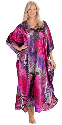 Winlar Kaftans for Women Satin Charmeuse One Size Caftan in Kilaueu Print (One Size Fits Most, Pink/Purple/Black) -