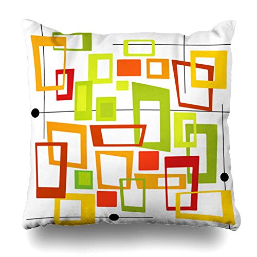- Ahawoso Throw Pillow Cover Pink Brown Mod Squares Spot Orange Red Green Gold Layered File No Transparencies Strokes Retro Design Decor Zippered Cushion Case 16