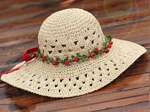 Tempo Estate Solare Selvaggio colore Intrecciata Protezione Femminile Grande Paglia Spiaggia Cappello Libero Vacanza 4 A All'orlo Di Mano 8 wPAAfgX
