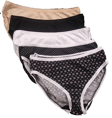 Vanity Fair Cotton Stretch Five-Pack Bikini Panties 761393, Black Diamond, Large