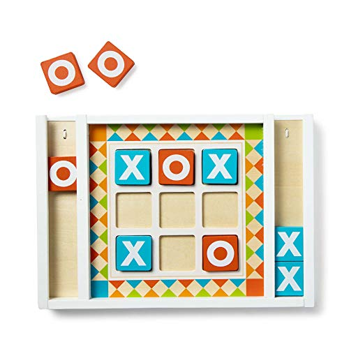 Melissa & Doug Wooden Tic-Tac-Toe Board Game with 10 Self-Storing Wooden Game Pieces (12.5