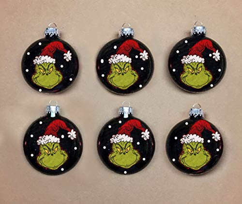 Ornaments Handmade Grinch Glass Set of 6 Black
