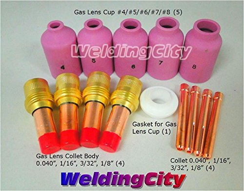 WeldingCity Accessory Kit Cup-Collet-Gas Lens-Gasket 040-1/16-3/32-1/8 for TIG Welding Torch 17, 18 & 26 TAK6 by WeldingCity