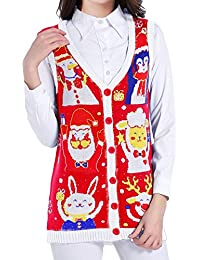 Christmas Sweater Cardigan Ugly Women Girls Red Vintage...