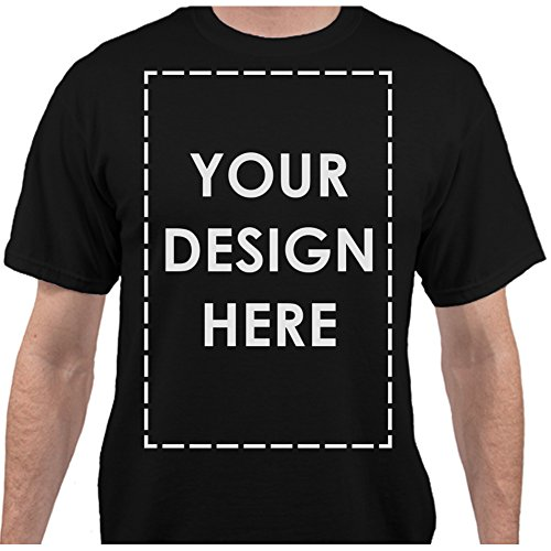 T-shirts Design Fine (Add Your Own Custom Text Name Personalized Message Image Jet Black T-Shirt - Medium)