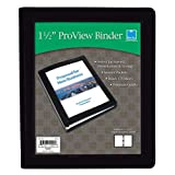 """Blue Sky ProView 3 Ring View Binder, Letter Size, 1.5"""", Black, Leather-Like Textured Cover"""