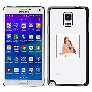 Shell-Star Arte & diseño plástico duro Fundas Cover Cubre Hard Case Cover para Samsung Galaxy Note 4 IV / SM-N910F / SM-N910K / SM-N910C / SM-N910W8 / SM-N910U / SM-N910G ( Girls Children Kids Beach Sunny Painting Art )