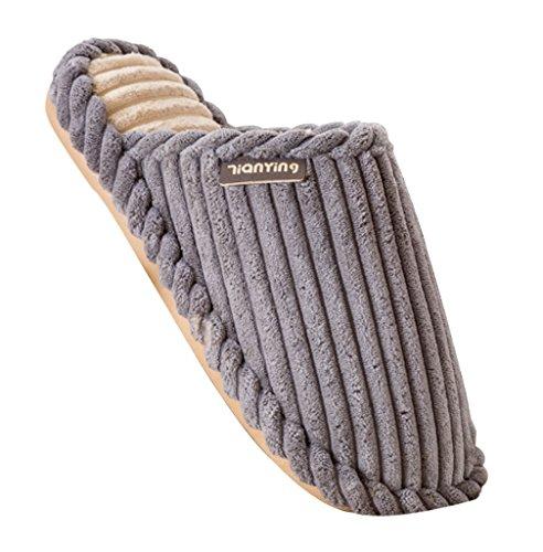 Cattior Mens Stripe Comode Pantofole Da Casa Calde Morbide Pantofole Grigie