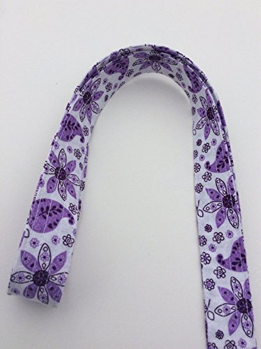 Purple Floral Lanyard Keychain ID Badge Key Keeper Camera Strap White Purple Floral