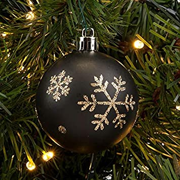 Weihnachtsdeko Xmas.4 X 8 Cm Schwarz Matt Gold Schneeflocke Luxus Kugeln
