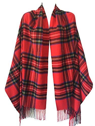 Women Oversized Scottish Tartan Clan Plaid Cashmere Feel Shawl Wrap Winter Scarf (Red Tartan) (Scarves Fashion Ladies Plaid)