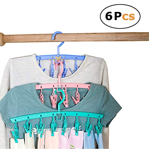 In kds Clothes Hangers Multifuciton Stackable Drying Rack 8 Clips Home Outdoor Travel Random Colours (Pack of 6) by In kds