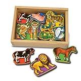 Melissa & Doug Wooden Animal Magnets, 20 Piece - Multi-Coloured