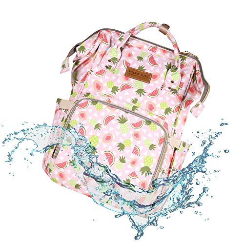 POLKA TOTS Pink Baby Fruit Design Waterproof Multifunctional Baby's Mother DiaperBag Backpack