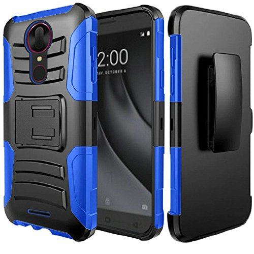 Coolpad Revvl Plus case, Luckiefind Dual Layer Hybrid Side Kickstand Cover Case With Holster Clip, Tempered Glass Screen Protector (Faceplate Cover Case Blue Clip)