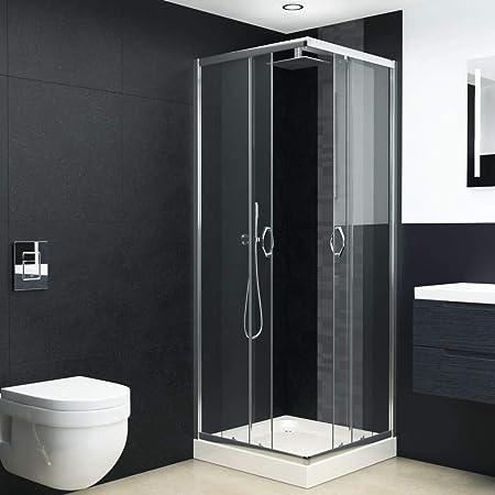 Tidyard - Mampara de ducha con bañera de cristal de seguridad para cuarto de baño, 80 x 80 x 185 cm: Amazon.es: Hogar