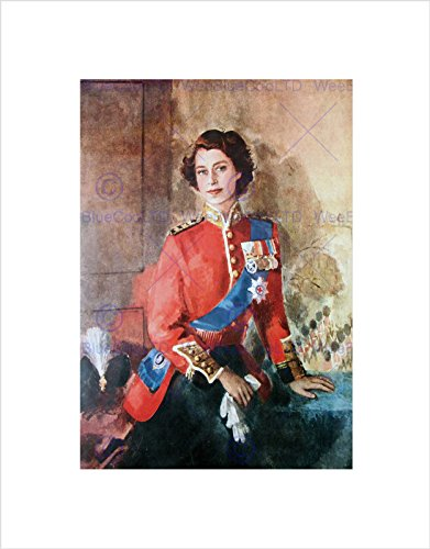 PAINTING PORTRAIT QUEEN ELIZABETH II ENGLAND BLACK FRAMED ART PRINT B12X9755 (Queen Elizabeth Photo)