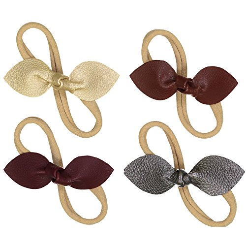 Baby Newborn Rabbit Ear Headbands - 4 Pack - Faux Leather bow for Girls