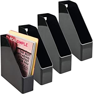 mDesign Plastic File Folder Bin Storage Organizer - Vertical with Handle - Holds Notebooks, Binders, Envelopes, Magazines - Container for Home Office and Work Desktops - 4 Pack - Black