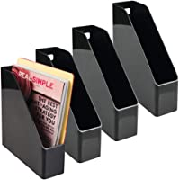 mDesign Plastic File Folder Bin Storage Organizer - Vertical with Handle - Holds Notebooks, Binders, Envelopes…