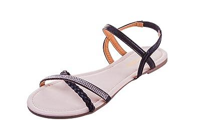 09f5cf22513 MuDan Womens Shoe Flat Braided   Rhinestone Comfortable Slingback Sandal (7  B (M)