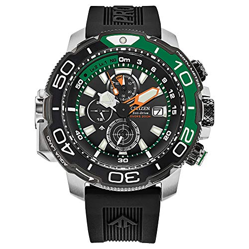 Citizen Mens ProMaster Aqualand Chronograph Black Dial Steel Case Rubber Band Watch