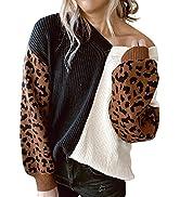 AlvaQ Women Sweater V Neck Leopard Print Long Sleeve Color Block Knit Pullover Jumper Tops