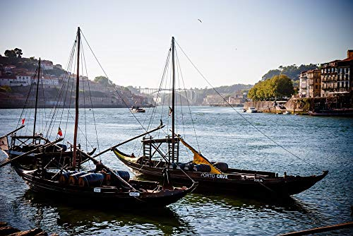Peel-n-Stick Poster of Portugal Rabelo Boat River Douro Porto Port Wine Vivid Imagery Poster 24 x 16 Adhesive Sticker Poster Print ()
