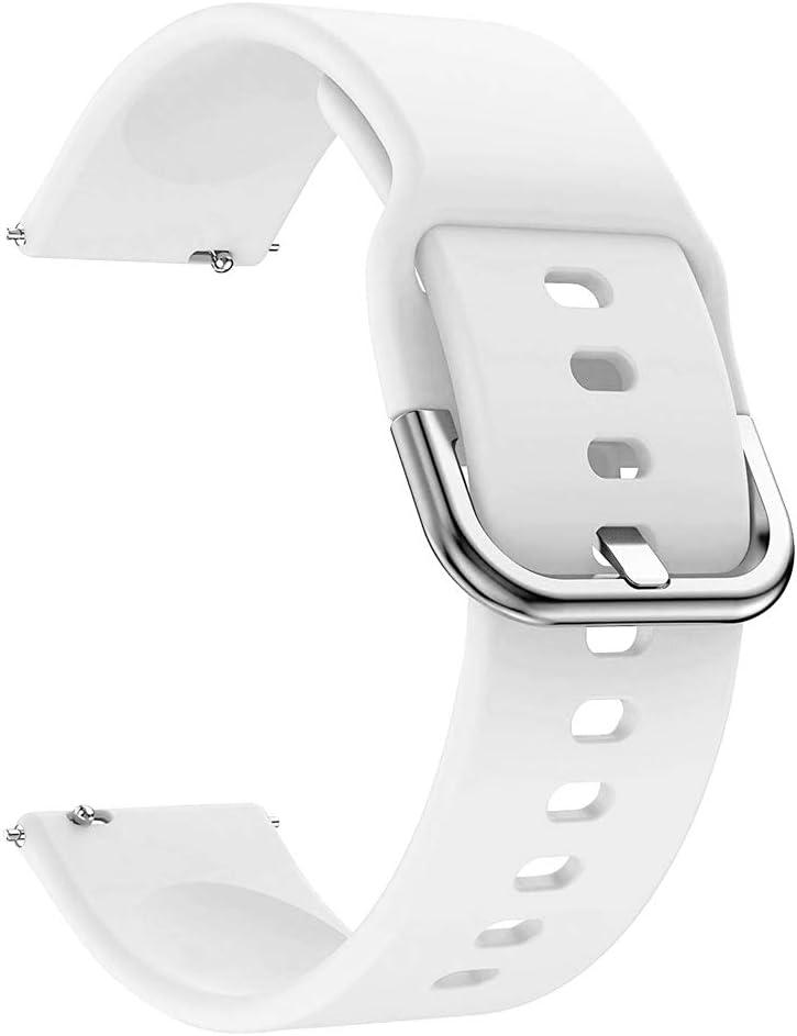 EWENYS Correa de repuesto para deportiva silicona suave de smartwatch, Compatibile con Samsung Galaxy Watch Active 2 40mm 44mm / Garmin vivoactive 3 / Amazfit GTS GTR 42mm (20mm, Blanco)