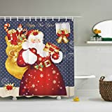 Santa Claus Shower Curtain- ZBLX Waterproof Mildew Resistant Fabric Polyester 100% Shower Curtain. (Gift Claus,60 'X 72')