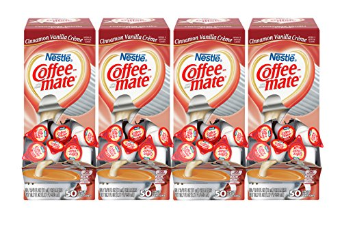 NESTLE COFFEE-MATE Coffee Creamer, Cinnamon Vanilla Creme, 0.375oz liquid creamer singles, 50 Count (Pack of 4) (Vanilla Coffee Cinnamon)