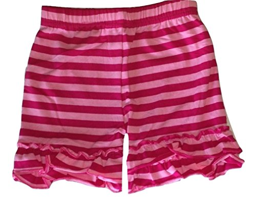 (LC Boutique Girls Double Ruffle Striped Bike Shorts Mid Thigh Sizes 2 to)