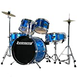 Ludwig LJR-106 Junior 5 Piece Drum Kit with Throne, Hardware, Cymbals - Blue