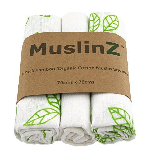 Muslinz Luxury Bamboo/Organic Cotton Muslin Squares (70 cm, White/Green...