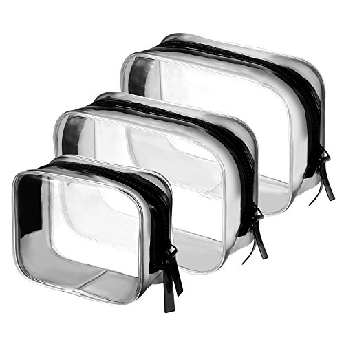 BBTO 3 Pieces PVC Travel Toiletry Bag Cosmetic Bags Organizers Makeup Bags with Zipper for Mens Womens Travel Toiletry Kit, Clear