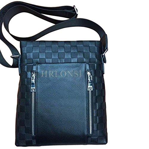 HRLONSI 2017 Most Popular Men's Head Layer Cowhide Plaid leather Zipper single Shoulder Handbag (blue)