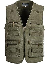 Alipolo Mens Summer Cotton Leisure Outdoor Plus Size Fish Vest
