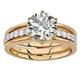 Round White Cubic Zirconia 18k Gold-Plated .925 Silver 2-Piece Jacket Bridal Engagement Set