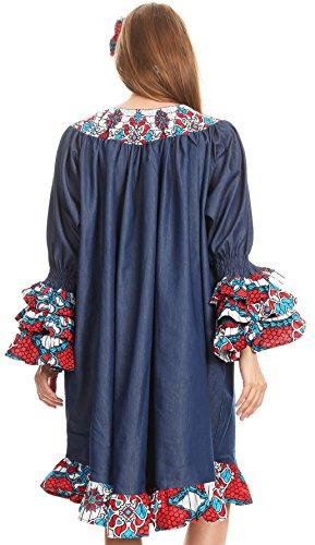 ornate Folami 2296 Ankara e Relax Red Chambray Fit Wax Dutch Turq Sakkas Muumuu Dress Print gUx6dw6Fq