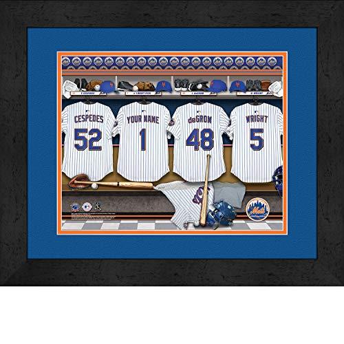 York Mets Personalized MLB Baseball Locker Room Jersey Framed Print 14x18 Inches