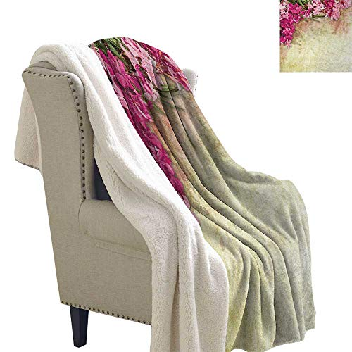 Jinguizi Floral Cozy Flannel Blanket Vintage Illustration of Oleander Flowers Distressed Retro Background Print Digital Printing Blanket 60x32 Inch Pink Green Light Yellow ()