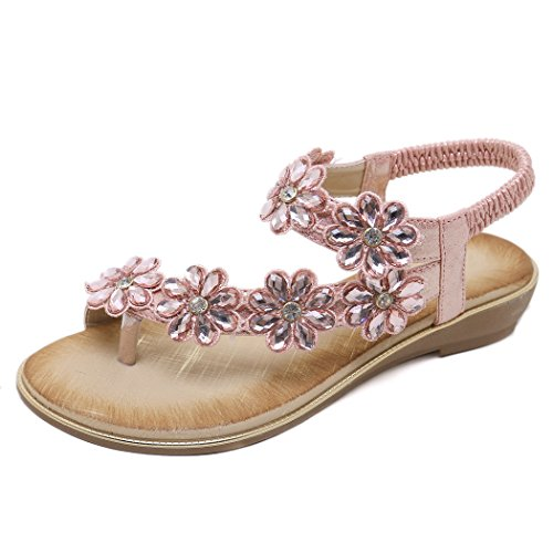 Ruiren Dames Rose des Plage D'été pour Plates Rhinestone Femmes de Sandales avec de de Fleurs des Chaussures SxSwFrfBq