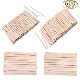 Whaline 600 Pieces Wax Spatulas Wax Applicator Sticks Wood Craft Sticks Small for Hair Removal Eyebrow, 3 Style