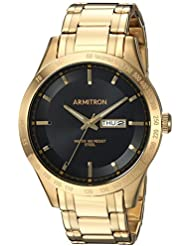 Armitron Mens 20/5174BKGP Day/Date Function Gold-Tone Bracelet Watch