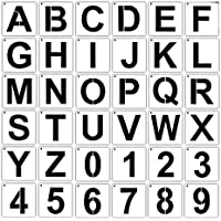 bobotron Letter Stencils for Painting on Wood 36 Pcs Letter and Number Stencils Reusable Font Templates for Home Craft…