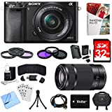 Sony Alpha a6000 Black Camera with 16-50mm, 55-210mm Lenses and Accessories Bundle - Includes Camera, 2 Lenses, 2 Filter Kits, Memory Card, Software, Carrying Case, Battery, and More