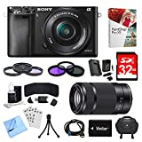 Cheap Sony Alpha a6000 Black Camera with 16-50mm, 55-210mm Lenses and Accessories Bundle – Includes Camera, 2 Lenses, 2 Filter Kits, Memory Card, Software, Carrying Case, Battery, and More