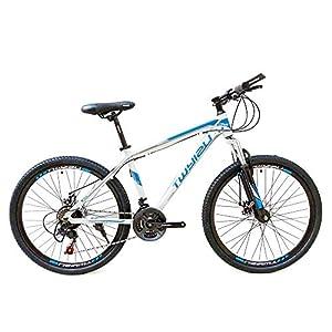 wotefusi Bici Montagna 21 Velocita 26 Pollici Bici Strada Mountain Bicicletta all Terrain Bianco Blu 5 spesavip