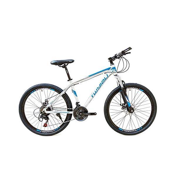 wotefusi Bici Montagna 21 Velocita 26 Pollici Bici Strada Mountain Bicicletta all Terrain Bianco Blu 1 spesavip